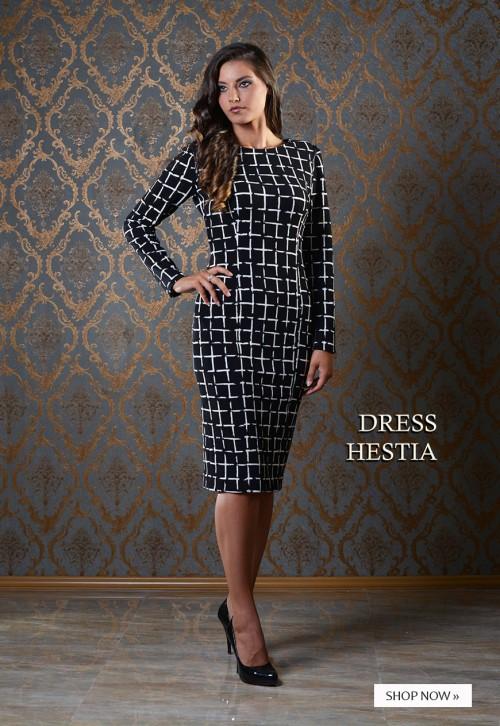 ASTIBO - елегантен фустан со геометриски дезен