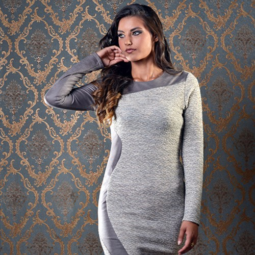 ASTIBO - фустан со долги ракави и кожен детаљ