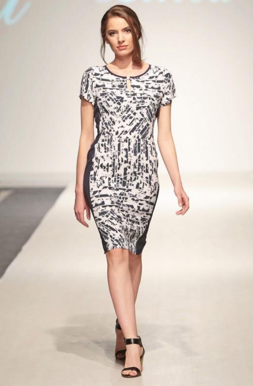 LINEA COLLECTION Деним неправилен принт на елегантен фустан