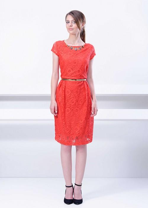 LINEA COLLECTION црвен фустан до под колена