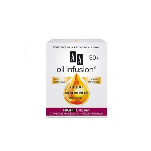 AA Oil Infusion +50 ноќен крем за зајакнување и регенерација 50 мл