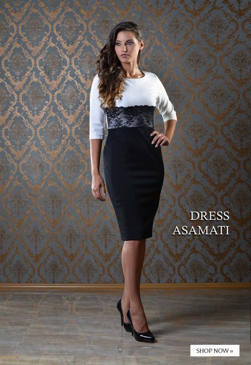 """ASTIBO - фустан """"Асамати"""" во две бои и со детаљ од тантела"""