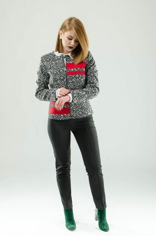 ASTIBO Црно-бело кратко палто со црвени детали