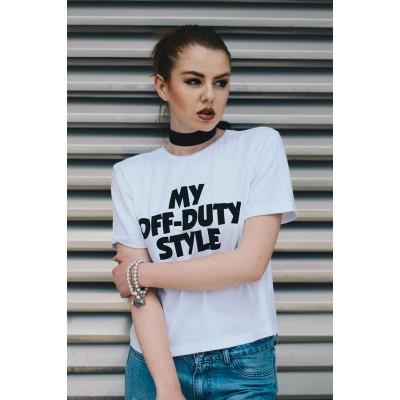 FACTORY бела памучна маица (crop top) со принт MY OFF DUTY STYLE
