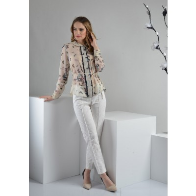 ASTIBO - елегантни бели панталони со жакард дезен кои убаво ги обликуваат нозете
