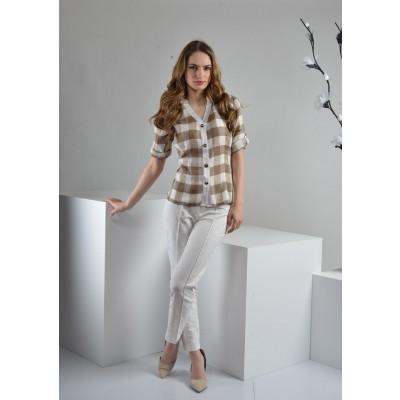 ASTIBO - карирана памучна кошула со ¾ ракави