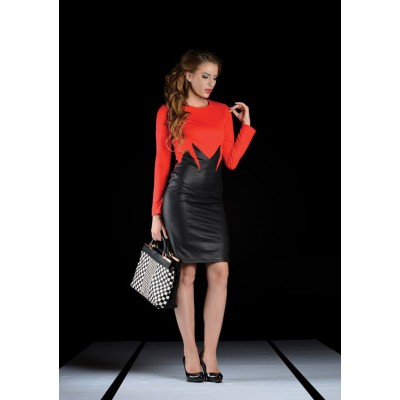 ASTIBO Фустан во две бои со долги ракави