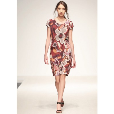 LINEA COLLECTION Фустан на преклоп во јак цветен дезен