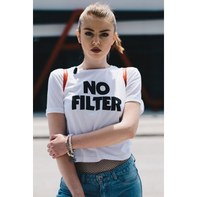 """FACTORY Бела памучна маица (crop top) со принт """"No Filter"""""""