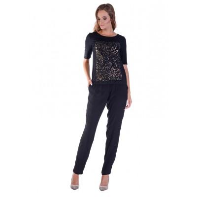 LINEA COLLECTION Лелеави црни летни панталони