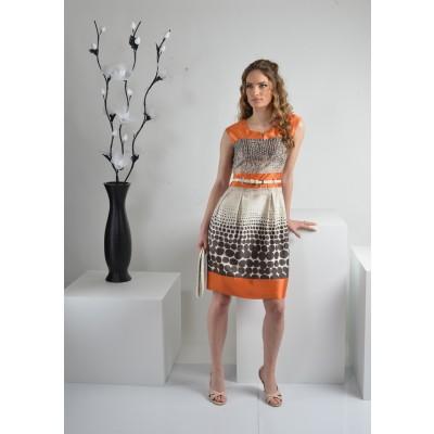 ASTIBO -  фустан во песочни бои со интересен дезен
