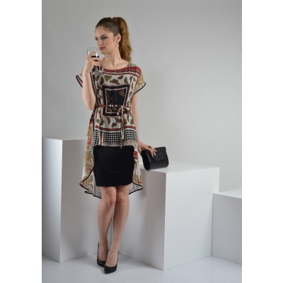 ASTIBO -  фустан со интересен асиметричен детал во горниот дел кој имитира туника