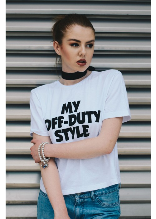 """FACTORY Маица бела """"My Off Duty Style"""" [Limited Edition]"""